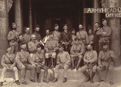 Group of General Prendergast and many of his staff, taken in front of the Hall of Audience in Mandalay Palace, on 17th December, 1885
